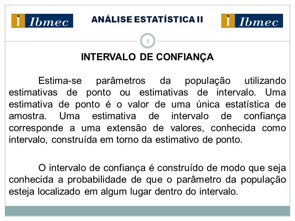ANÁLISE ESTATÍSTICA II 2 INTERVALO DE CONFIANÇA Estimativa de Ponto Corresponde ao valor de uma única estatística extraída de uma amostra, o qual é utilizado para estimar o valor de um parâmetro da população.