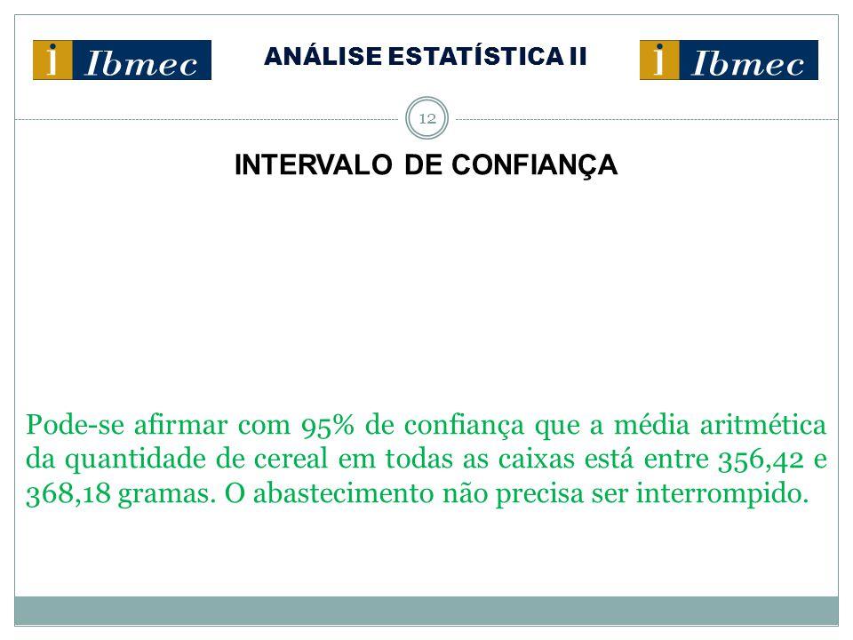 ANÁLISE ESTATÍSTICA II 12 INTERVALO DE CONFIANÇA Pode-se afirmar com 95% de confiança que a média aritmética da quantidade de cereal em todas as caixa