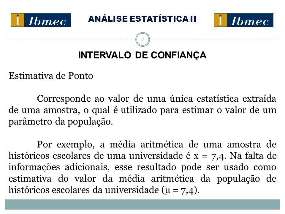 ANÁLISE ESTATÍSTICA II 2 INTERVALO DE CONFIANÇA Estimativa de Ponto Corresponde ao valor de uma única estatística extraída de uma amostra, o qual é ut