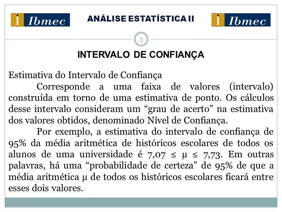 ANÁLISE ESTATÍSTICA II 3 INTERVALO DE CONFIANÇA Estimativa do Intervalo de Confiança Corresponde a uma faixa de valores (intervalo) construída em torn