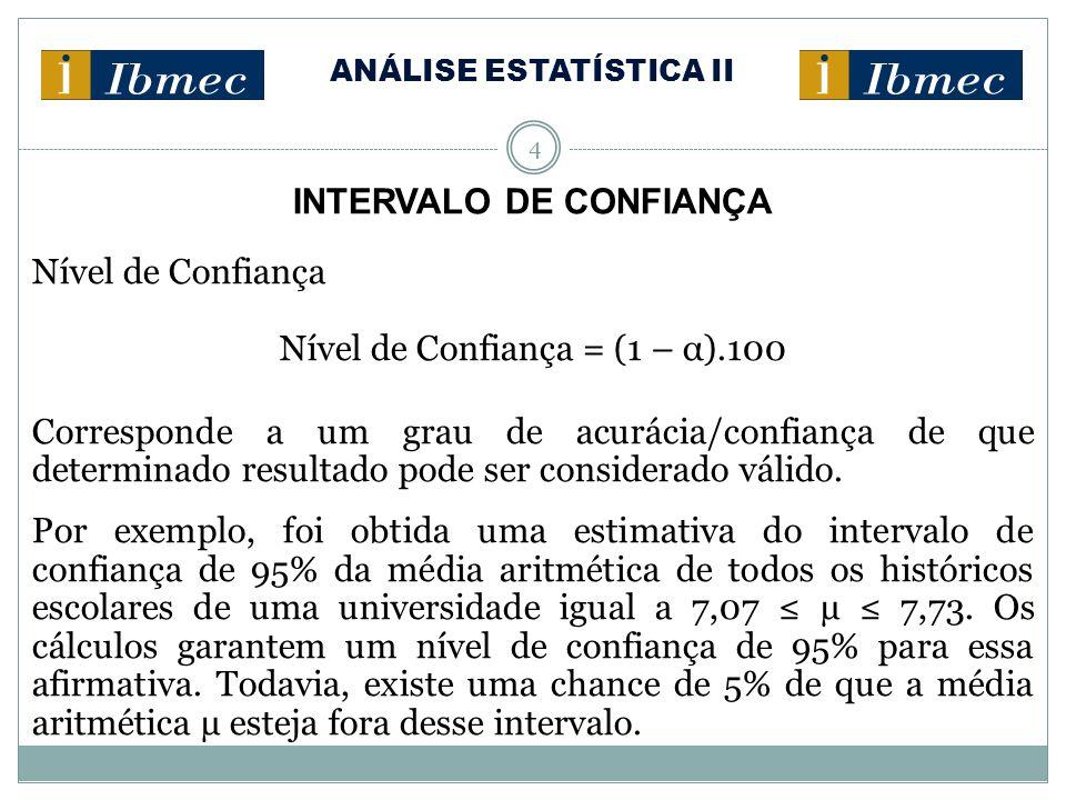 ANÁLISE ESTATÍSTICA II 4 INTERVALO DE CONFIANÇA Nível de Confiança Nível de Confiança = (1 – α).100 Corresponde a um grau de acurácia/confiança de que