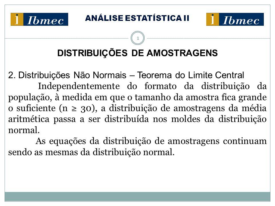 ANÁLISE ESTATÍSTICA II 1 DISTRIBUIÇÕES DE AMOSTRAGENS 2. Distribuições Não Normais – Teorema do Limite Central Independentemente do formato da distrib