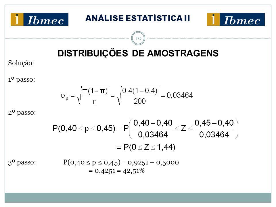 ANÁLISE ESTATÍSTICA II 10 DISTRIBUIÇÕES DE AMOSTRAGENS Solução: 1º passo: 2º passo: 3º passo: P(0,40 ≤ p ≤ 0,45) = 0,9251 – 0,5000 = 0,4251 = 42,51%
