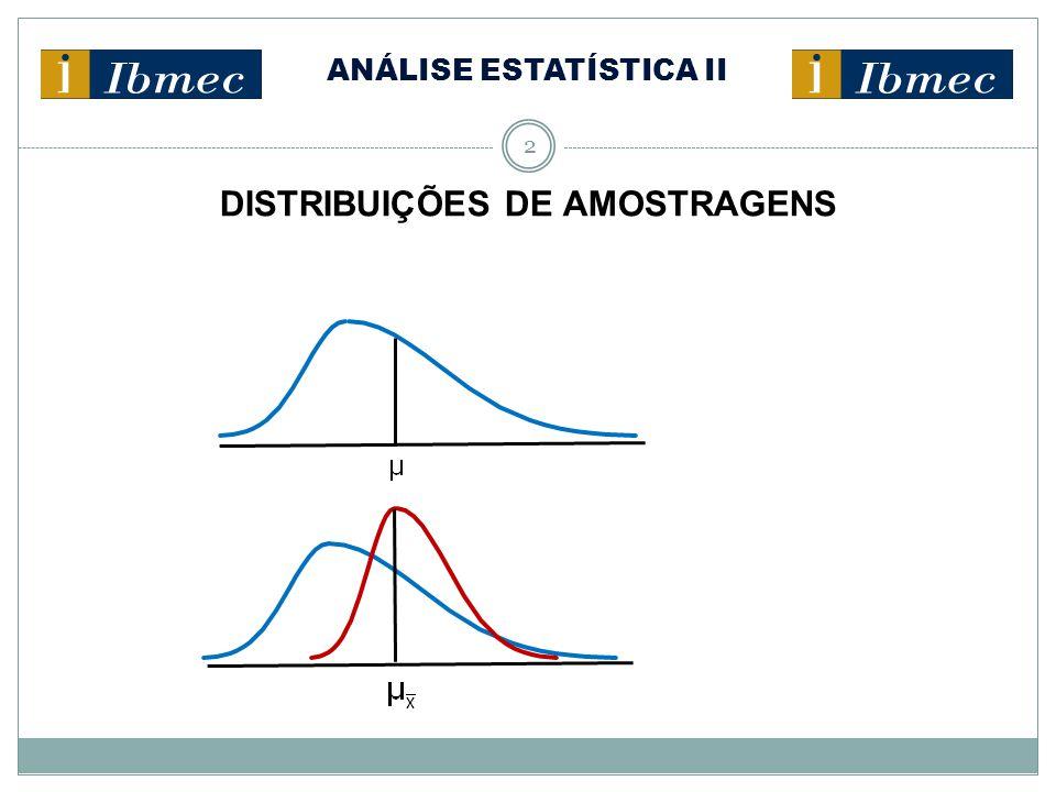 ANÁLISE ESTATÍSTICA II 3 DISTRIBUIÇÕES DE AMOSTRAGENS Considerações importantes: Se a distribuição da população for relativamente simétrica, a distribuição de amostragens da média aritmética será aproximadamente normal, se forem selecionadas amostras de, pelo menos, 15 observações (n ≥ 15).