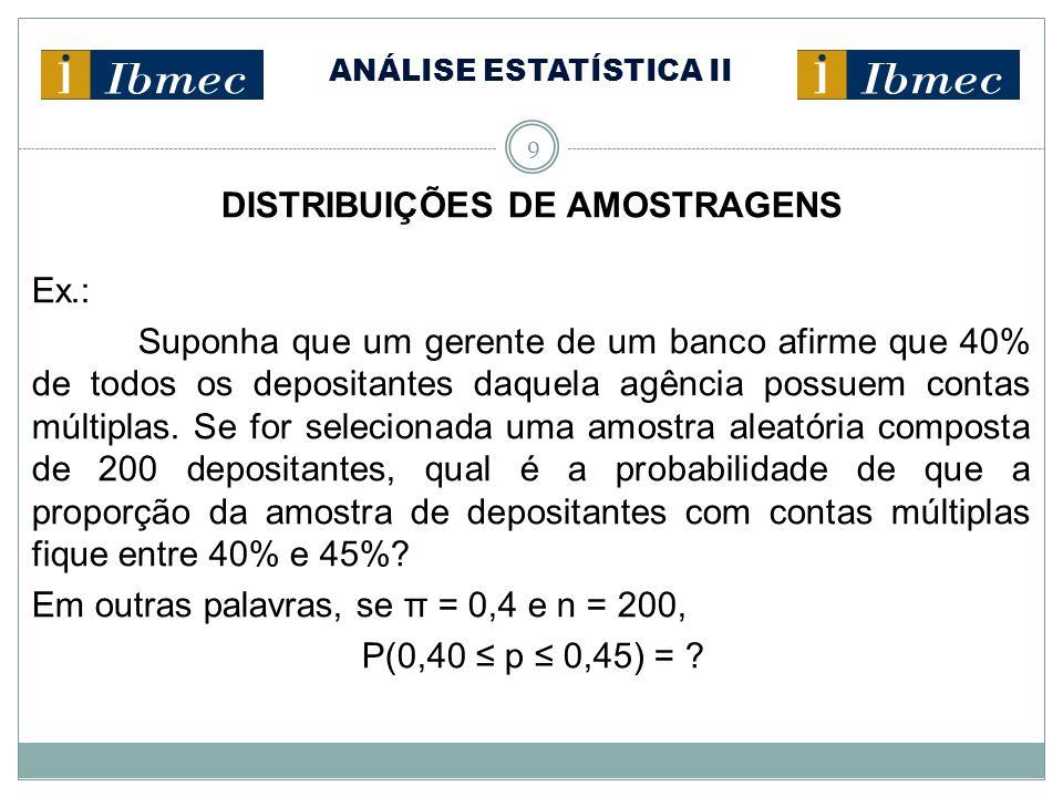 ANÁLISE ESTATÍSTICA II 9 DISTRIBUIÇÕES DE AMOSTRAGENS Ex.: Suponha que um gerente de um banco afirme que 40% de todos os depositantes daquela agência