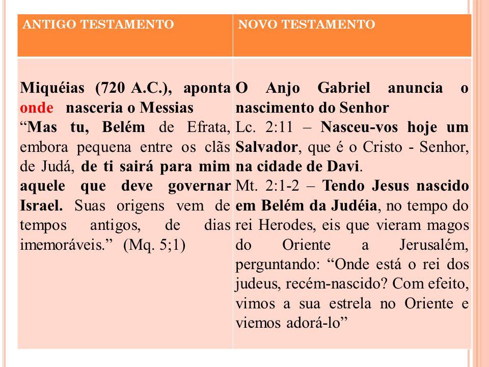 ANTIGO TESTAMENTONOVO TESTAMENTO Miquéias (720 A.C.), aponta onde nasceria o Messias Mas tu, Belém de Efrata, embora pequena entre os clãs de Judá, de ti sairá para mim aquele que deve governar Israel.