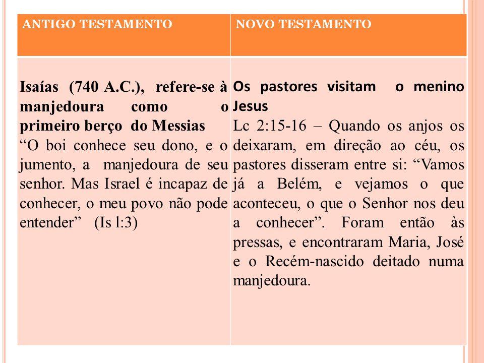 """ANTIGO TESTAMENTONOVO TESTAMENTO Isaías (740 A.C.), refere-se à manjedoura como o primeiro berço do Messias """"O boi conhece seu dono, e o jumento, a ma"""