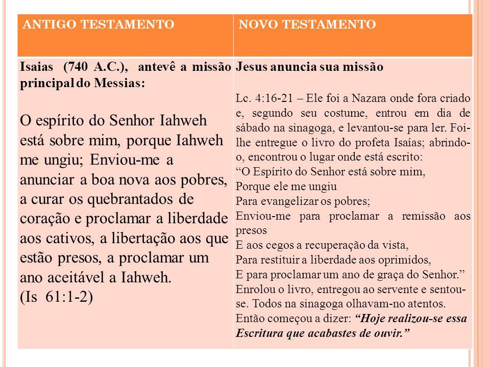 ANTIGO TESTAMENTONOVO TESTAMENTO Isaias (740 A.C.), antevê a missão principal do Messias: O espírito do Senhor Iahweh está sobre mim, porque Iahweh me