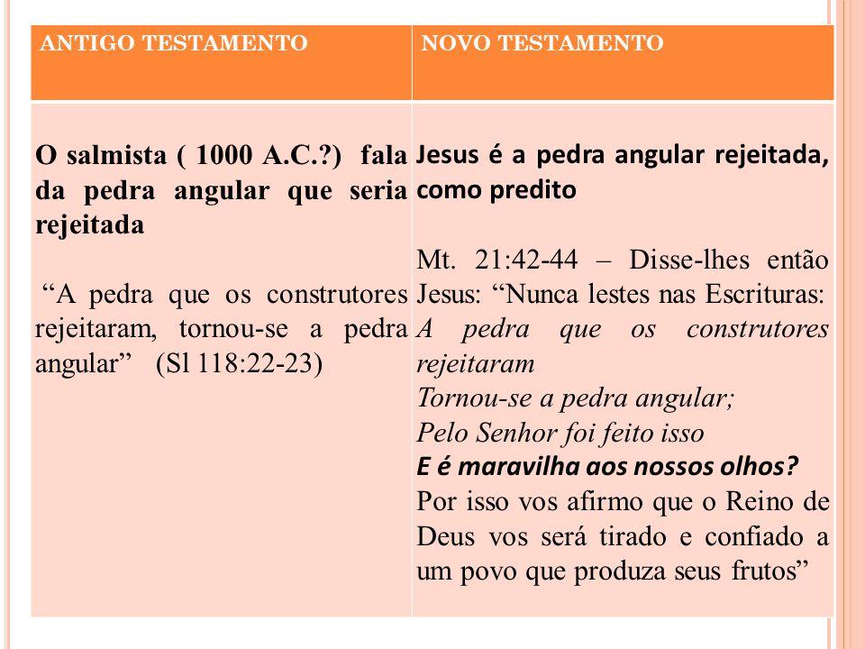 """ANTIGO TESTAMENTONOVO TESTAMENTO O salmista ( 1000 A.C.?) fala da pedra angular que seria rejeitada """"A pedra que os construtores rejeitaram, tornou-se"""