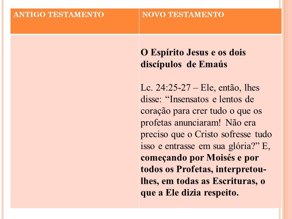 """ANTIGO TESTAMENTONOVO TESTAMENTO O Espírito Jesus e os dois discípulos de Emaús Lc. 24:25-27 – Ele, então, lhes disse: """"Insensatos e lentos de coração"""
