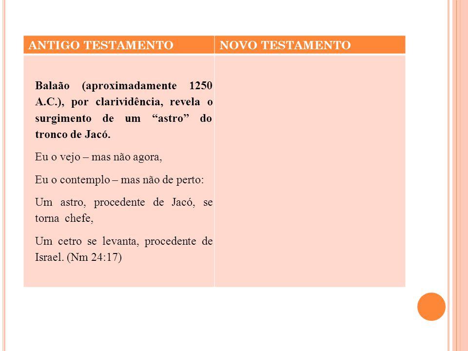 """ANTIGO TESTAMENTONOVO TESTAMENTO Balaão (aproximadamente 1250 A.C.), por clarividência, revela o surgimento de um """"astro"""" do tronco de Jacó. Eu o vejo"""