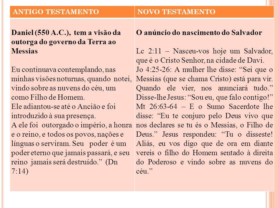 ANTIGO TESTAMENTONOVO TESTAMENTO Daniel (550 A.C.), tem a visão da outorga do governo da Terra ao Messias Eu continuava contemplando, nas minhas visõe