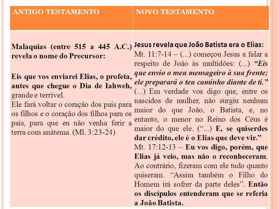 ANTIGO TESTAMENTONOVO TESTAMENTO Malaquias (entre 515 a 445 A.C.) revela o nome do Precursor: Eis que vos enviarei Elias, o profeta, antes que chegue