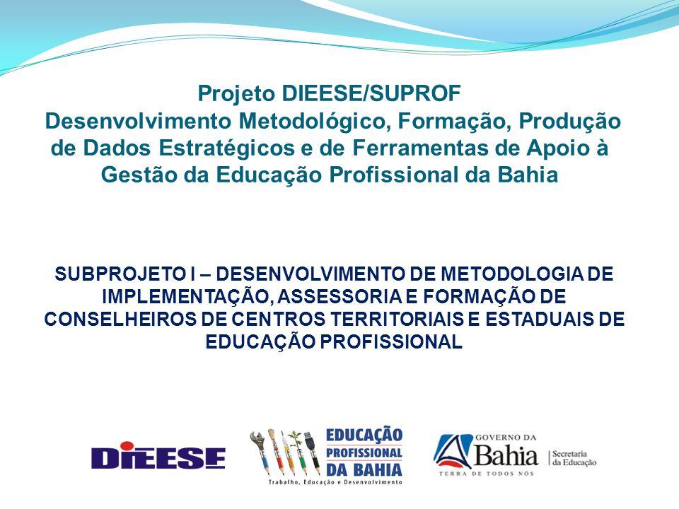 SUBPROJETO I – DESENVOLVIMENTO DE METODOLOGIA DE IMPLEMENTAÇÃO, ASSESSORIA E FORMAÇÃO DE CONSELHEIROS DE CENTROS TERRITORIAIS E ESTADUAIS DE EDUCAÇÃO PROFISSIONAL Projeto DIEESE/SUPROF Desenvolvimento Metodológico, Formação, Produção de Dados Estratégicos e de Ferramentas de Apoio à Gestão da Educação Profissional da Bahia