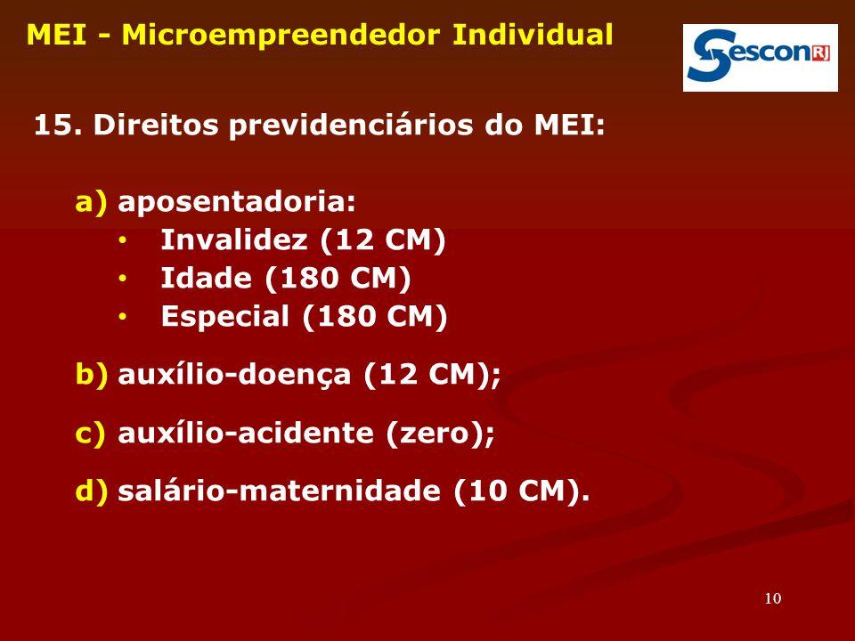 10 MEI - Microempreendedor Individual 15. Direitos previdenciários do MEI: a)aposentadoria: Invalidez (12 CM) Idade (180 CM) Especial (180 CM) b)auxíl