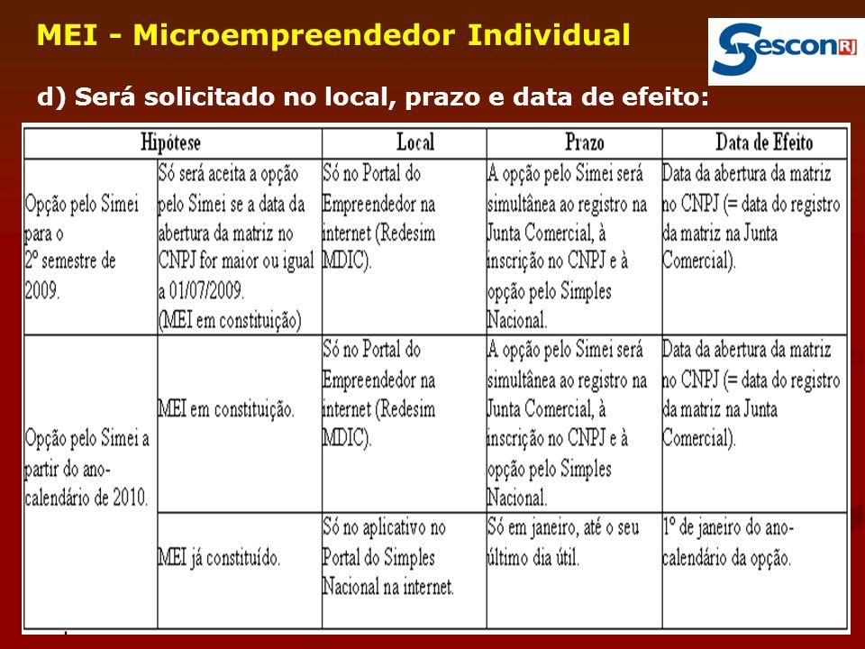 17 MEI - Microempreendedor Individual d) Será solicitado no local, prazo e data de efeito: