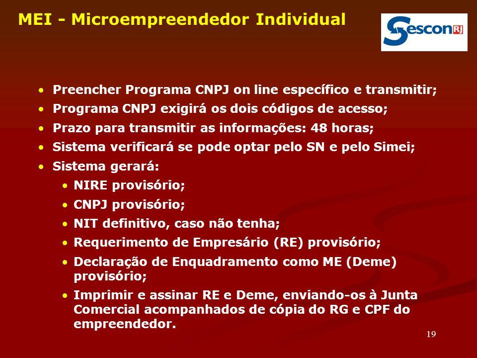 19 MEI - Microempreendedor Individual Preencher Programa CNPJ on line específico e transmitir; Programa CNPJ exigirá os dois códigos de acesso; Prazo