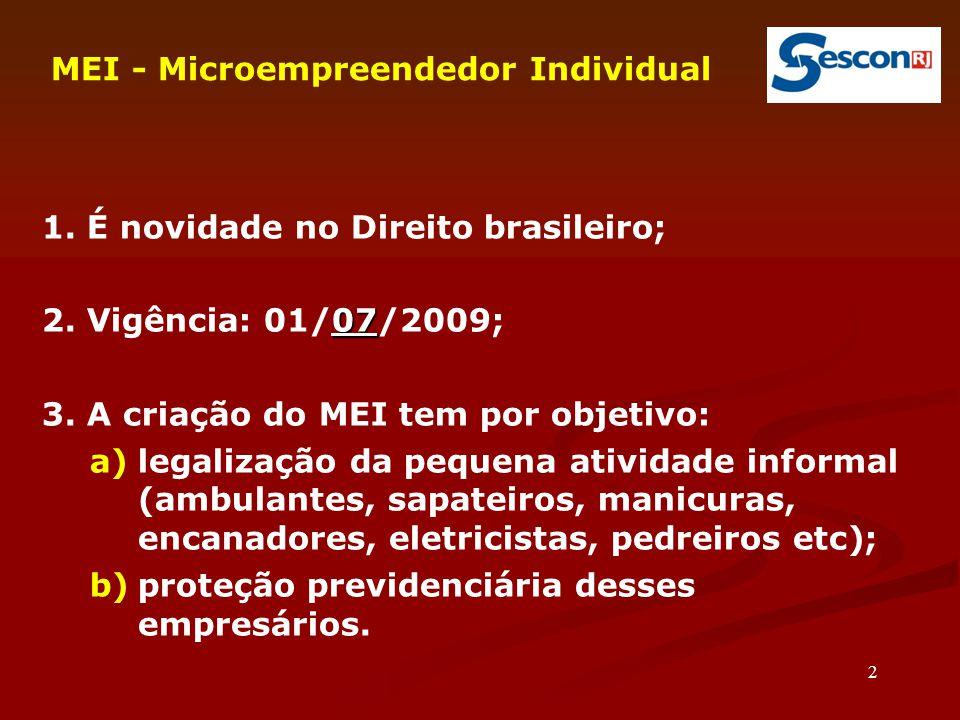 2 MEI - Microempreendedor Individual 1. É novidade no Direito brasileiro; 07 2. Vigência: 01/07/2009; 3. A criação do MEI tem por objetivo: a)legaliza