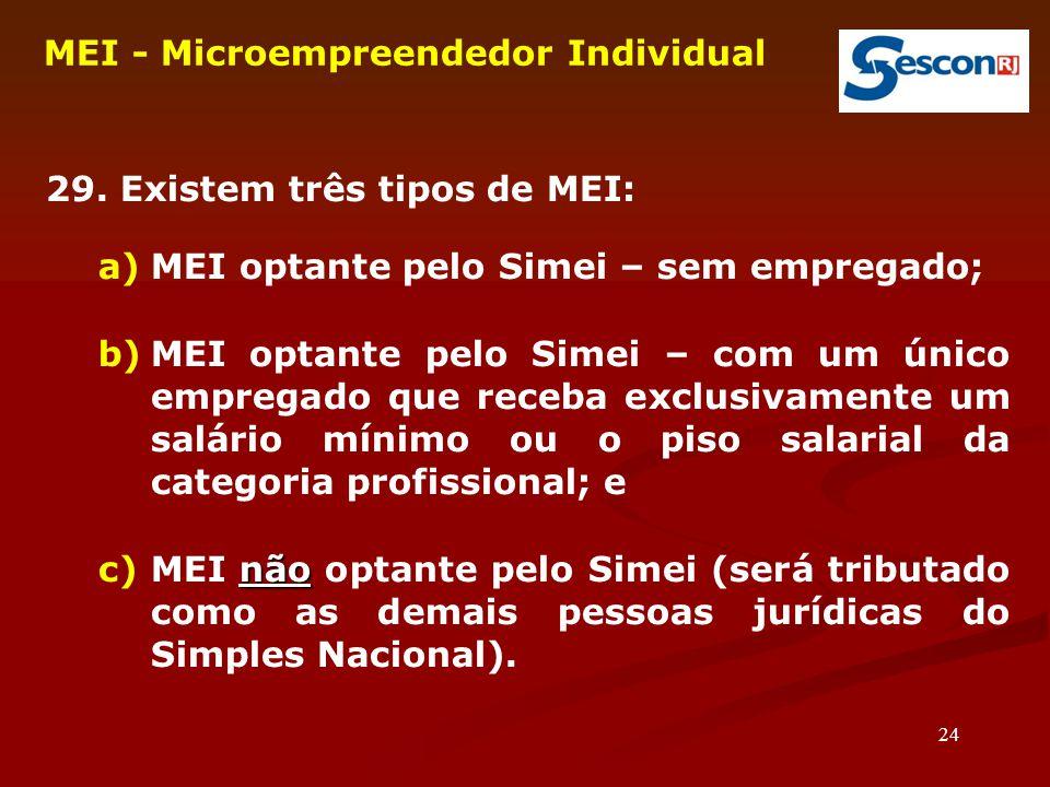 24 MEI - Microempreendedor Individual  29. Existem três tipos de MEI: a)MEI optante pelo Simei – sem empregado; b)MEI optante pelo Simei – com um úni