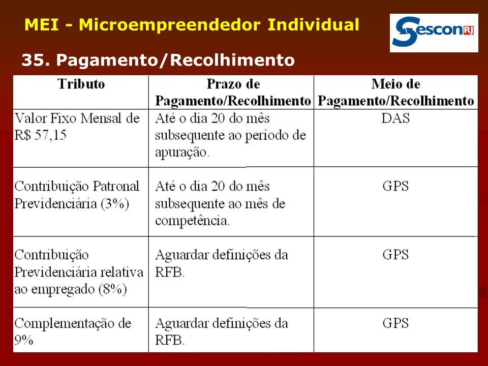 34 MEI - Microempreendedor Individual 35. Pagamento/Recolhimento