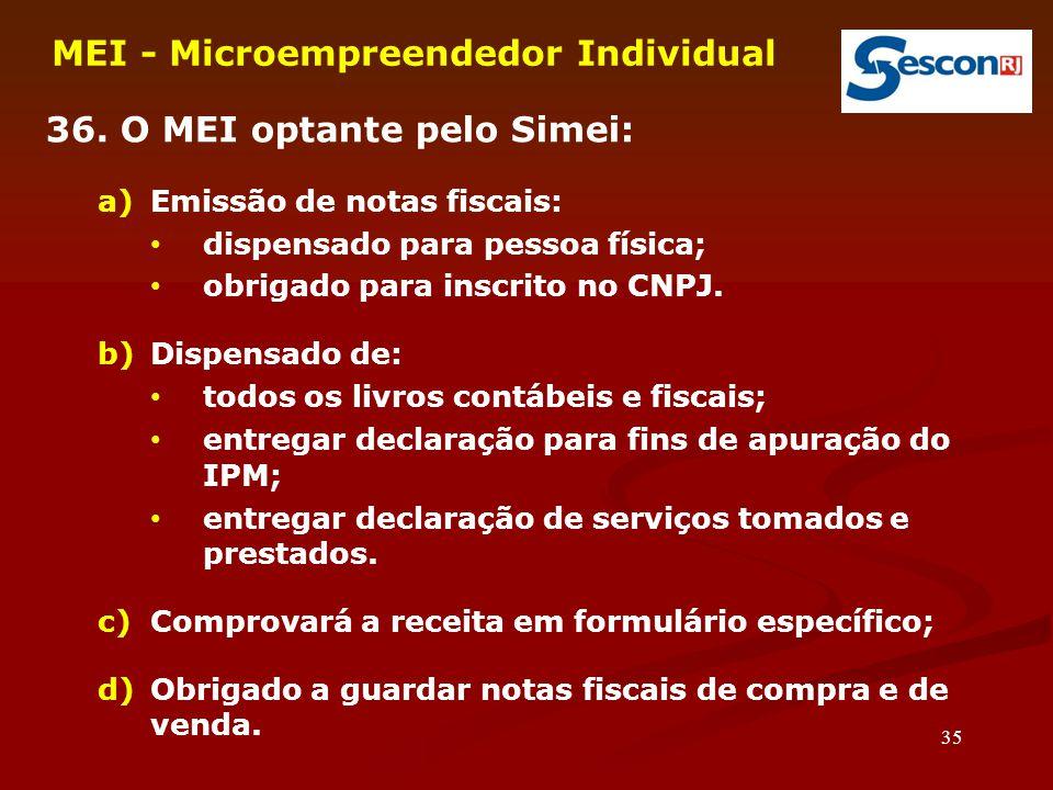 35 MEI - Microempreendedor Individual 36. O MEI optante pelo Simei: a)Emissão de notas fiscais: dispensado para pessoa física; obrigado para inscrito