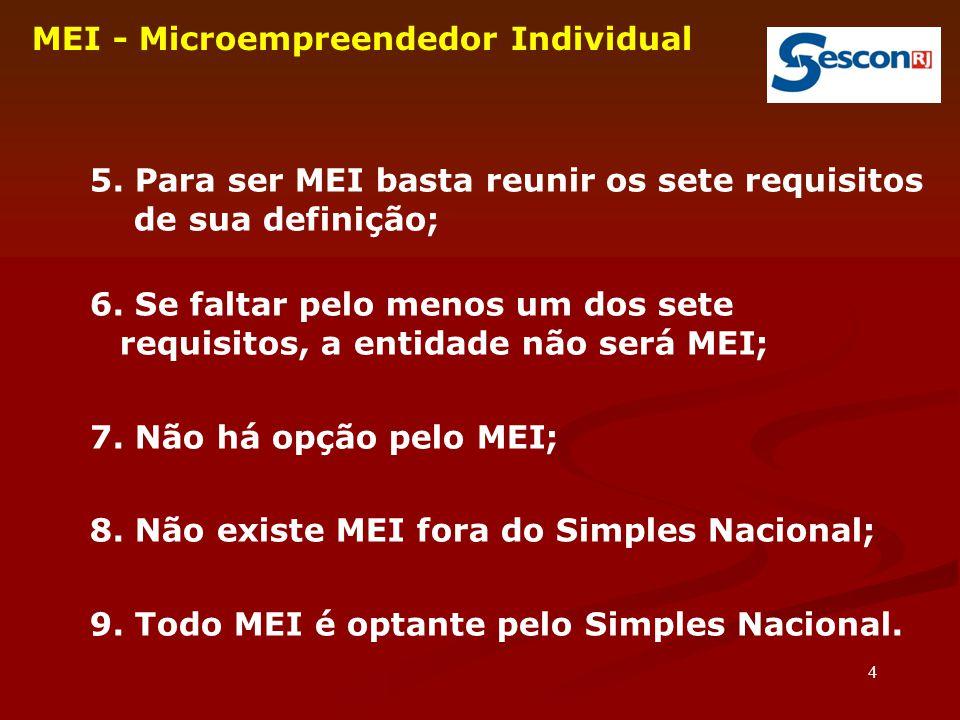 4 MEI - Microempreendedor Individual 5. Para ser MEI basta reunir os sete requisitos de sua definição; 6. Se faltar pelo menos um dos sete requisitos,