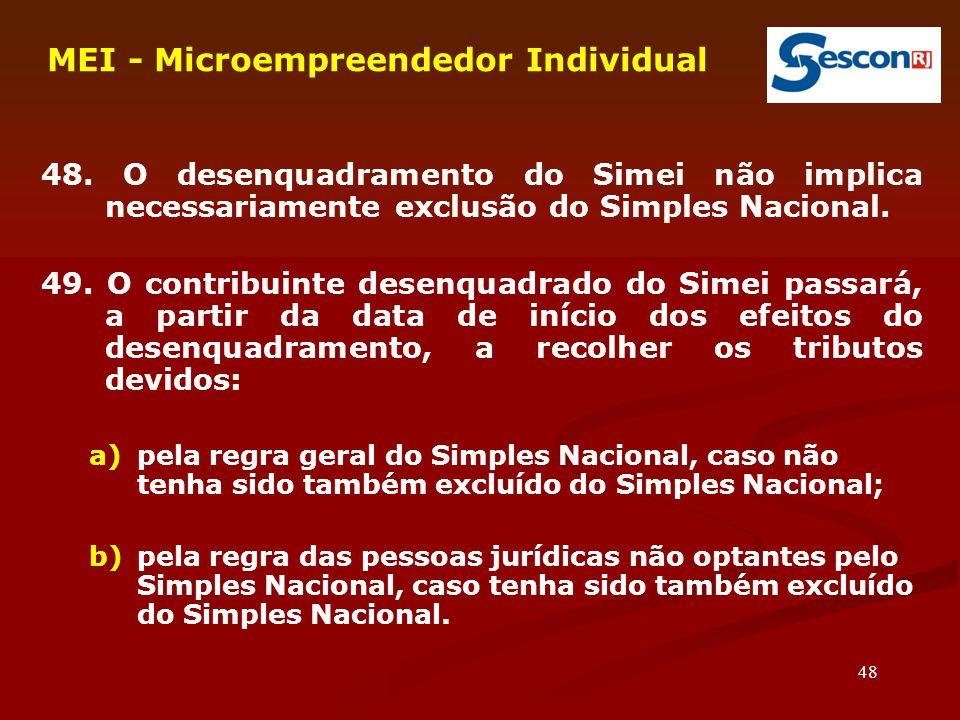 48 MEI - Microempreendedor Individual 48. O desenquadramento do Simei não implica necessariamente exclusão do Simples Nacional. 49. O contribuinte des