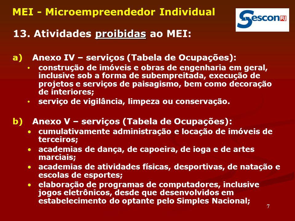 7 MEI - Microempreendedor Individual proibidas 13. Atividades proibidas ao MEI: a)Anexo IV – serviços (Tabela de Ocupações): construção de imóveis e o