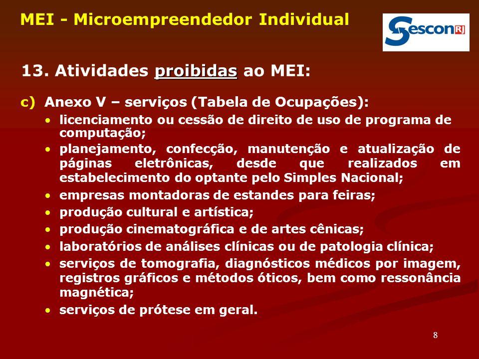 8 MEI - Microempreendedor Individual proibidas 13. Atividades proibidas ao MEI: c) Anexo V – serviços (Tabela de Ocupações): licenciamento ou cessão d