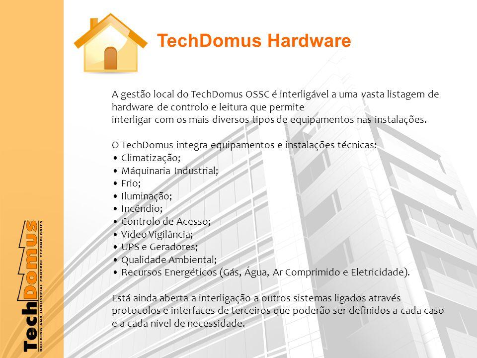 A gestão local do TechDomus OSSC é interligável a uma vasta listagem de hardware de controlo e leitura que permite interligar com os mais diversos tipos de equipamentos nas instalações.