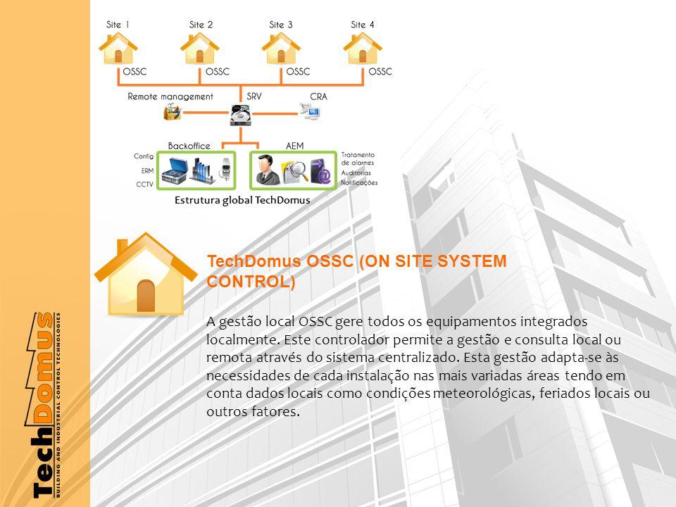 TechDomus OSSC (ON SITE SYSTEM CONTROL) A gestão local OSSC gere todos os equipamentos integrados localmente.