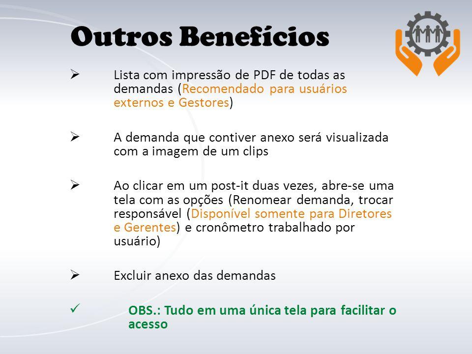  Lista com impressão de PDF de todas as demandas (Recomendado para usuários externos e Gestores)  A demanda que contiver anexo será visualizada com
