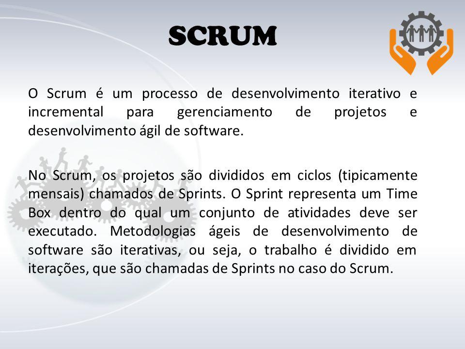 O Scrum é um processo de desenvolvimento iterativo e incremental para gerenciamento de projetos e desenvolvimento ágil de software. No Scrum, os proje