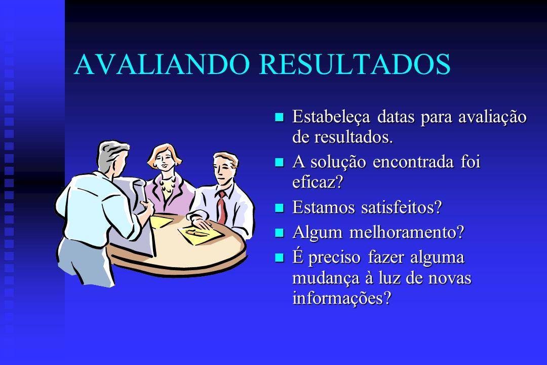 AVALIANDO RESULTADOS Estabeleça datas para avaliação de resultados.