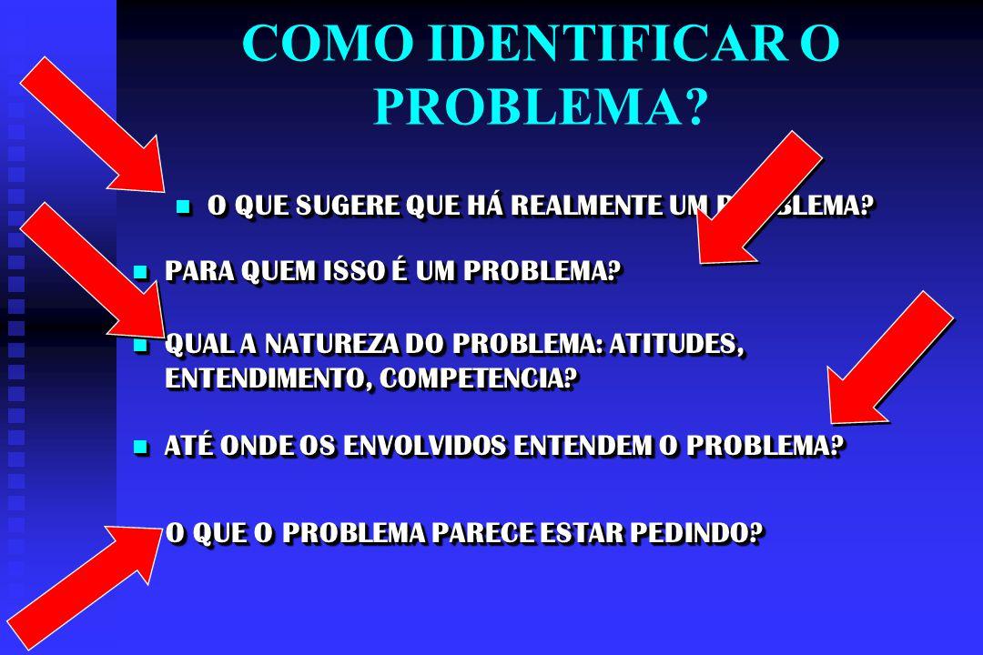 DIAGNÓSTICO DO PROBLEMA IDENTIFIQUE AS CAUSAS, NÃO OS SINTOMAS.