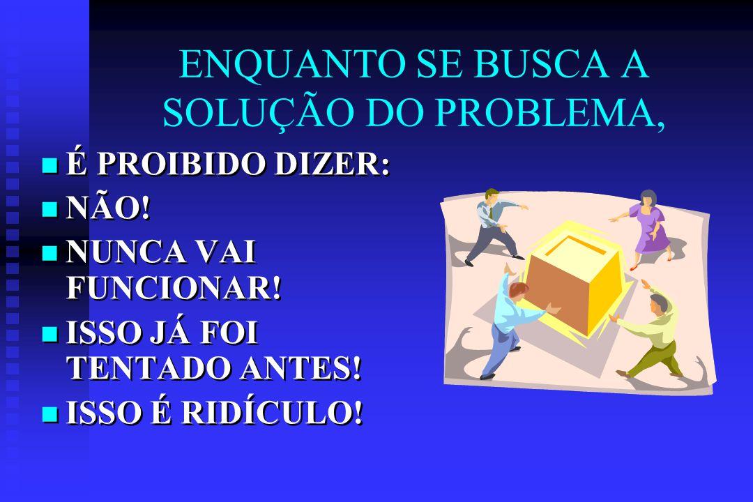 ENQUANTO SE BUSCA A SOLUÇÃO DO PROBLEMA, É PROIBIDO DIZER: NÃO.