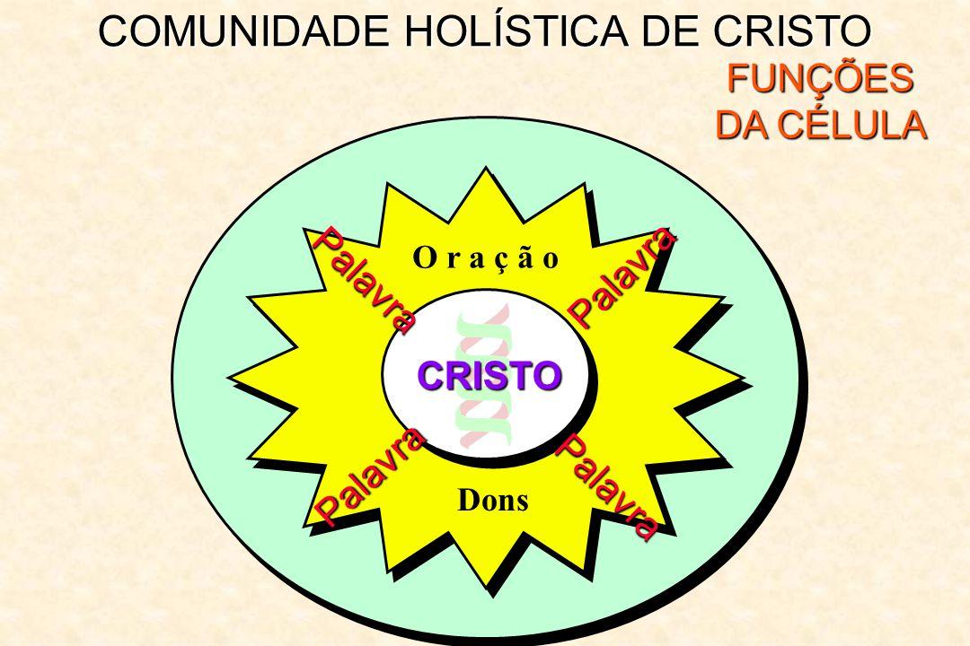 COMUNIDADE HOLÍSTICA DE CRISTO FUNÇÕES DA CÉLULA Palavra Palavra Palavra Palavra O r a ç ã o CRISTO Dons
