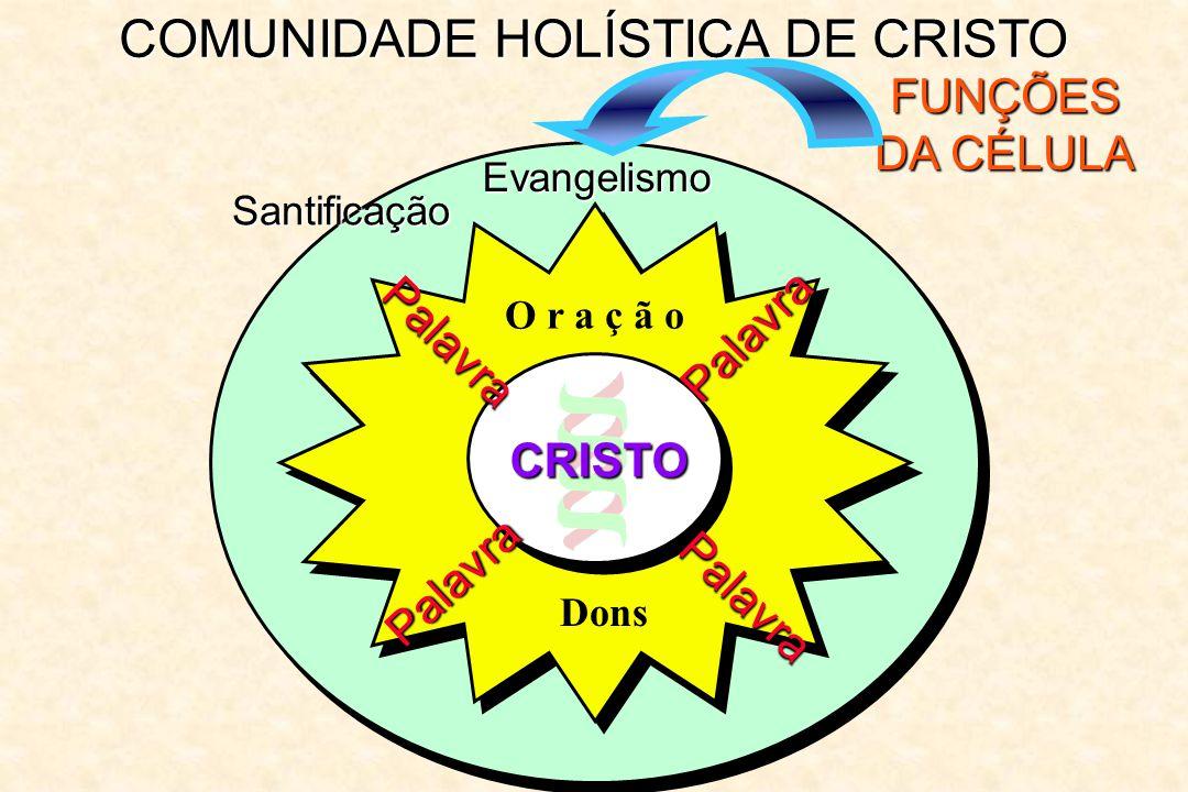 COMUNIDADE HOLÍSTICA DE CRISTO FUNÇÕES DA CÉLULA Evangelismo Palavra Palavra Palavra Palavra O r a ç ã o CRISTO Dons Santificação