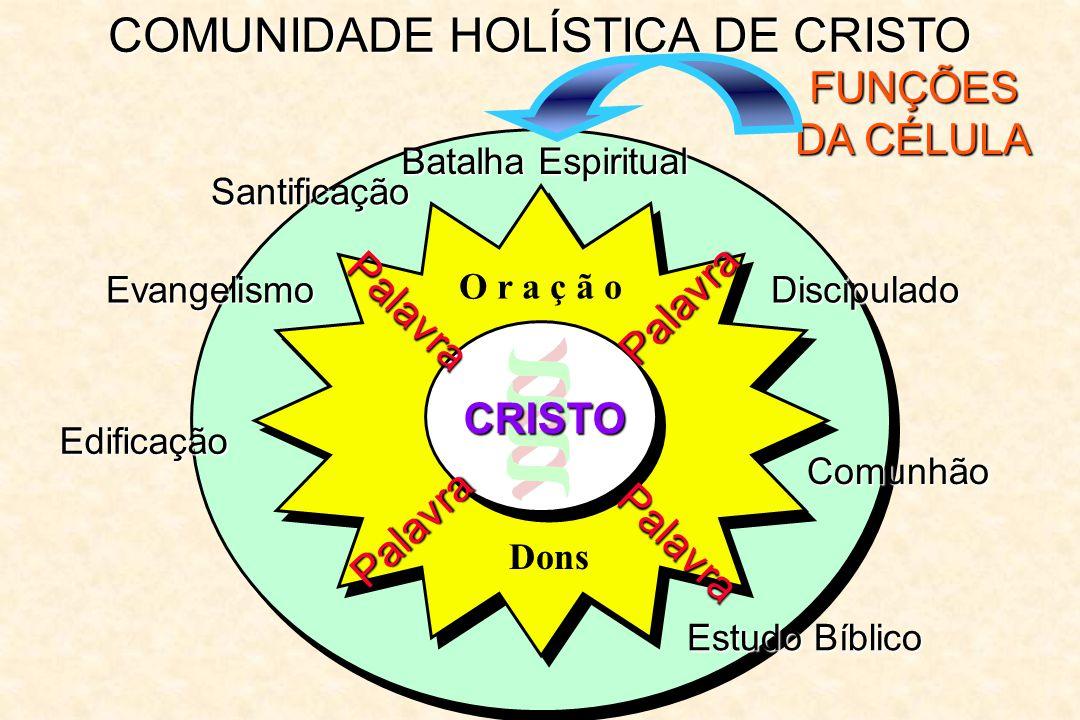 COMUNIDADE HOLÍSTICA DE CRISTO FUNÇÕES DA CÉLULA Batalha Espiritual Palavra Palavra Palavra Palavra O r a ç ã o CRISTO Dons Santificação Evangelismo E