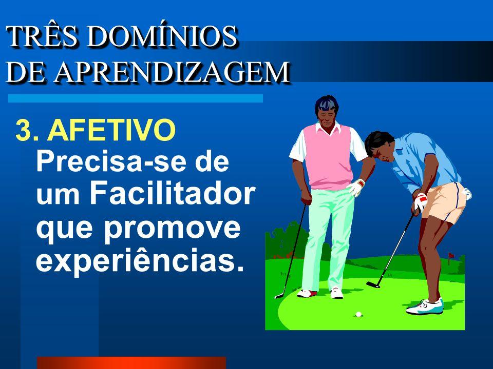 TRÊS DOMÍNIOS DE APRENDIZAGEM 3. AFETIVO Precisa-se de um Facilitador que promove experiências.