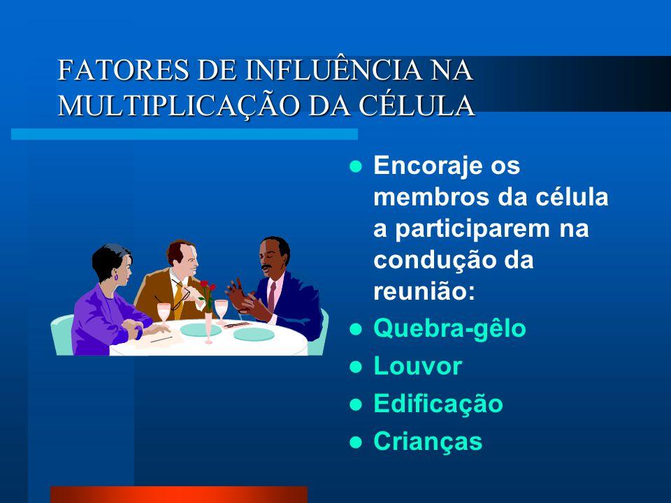 FATORES DE INFLUÊNCIA NA MULTIPLICAÇÃO DA CÉLULA Encoraje os membros da célula a participarem na condução da reunião: Quebra-gêlo Louvor Edificação Cr