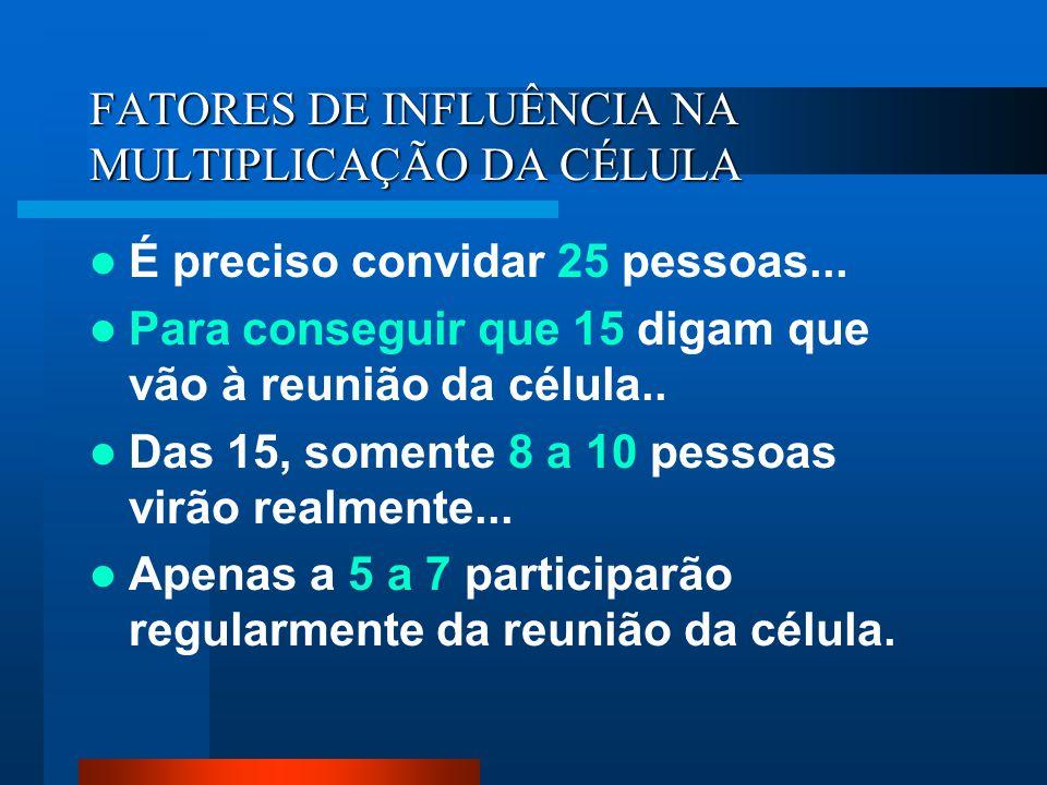 FATORES DE INFLUÊNCIA NA MULTIPLICAÇÃO DA CÉLULA É preciso convidar 25 pessoas... Para conseguir que 15 digam que vão à reunião da célula.. Das 15, so
