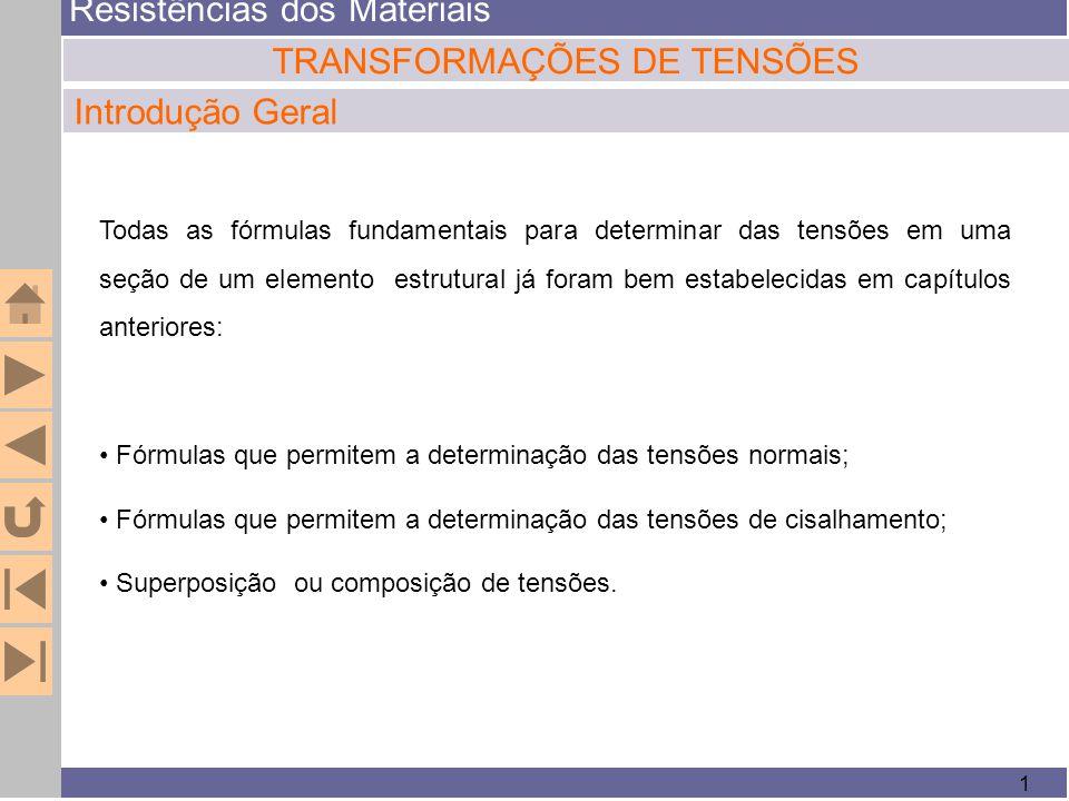 Resistências dos Materiais 1 TRANSFORMAÇÕES DE TENSÕES Introdução Geral Todas as fórmulas fundamentais para determinar das tensões em uma seção de um
