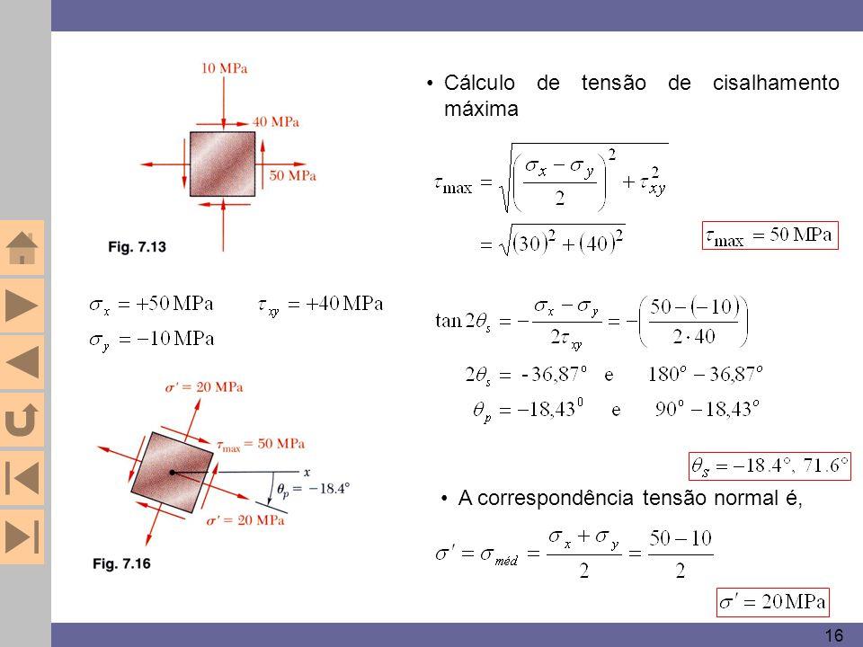 16 Cálculo de tensão de cisalhamento máxima A correspondência tensão normal é,