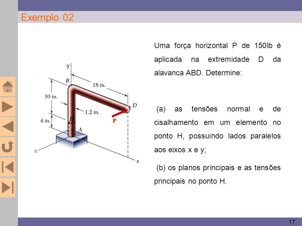 17 Exemplo 02 Uma força horizontal P de 150lb é aplicada na extremidade D da alavanca ABD. Determine: (a) as tensões normal e de cisalhamento em um el