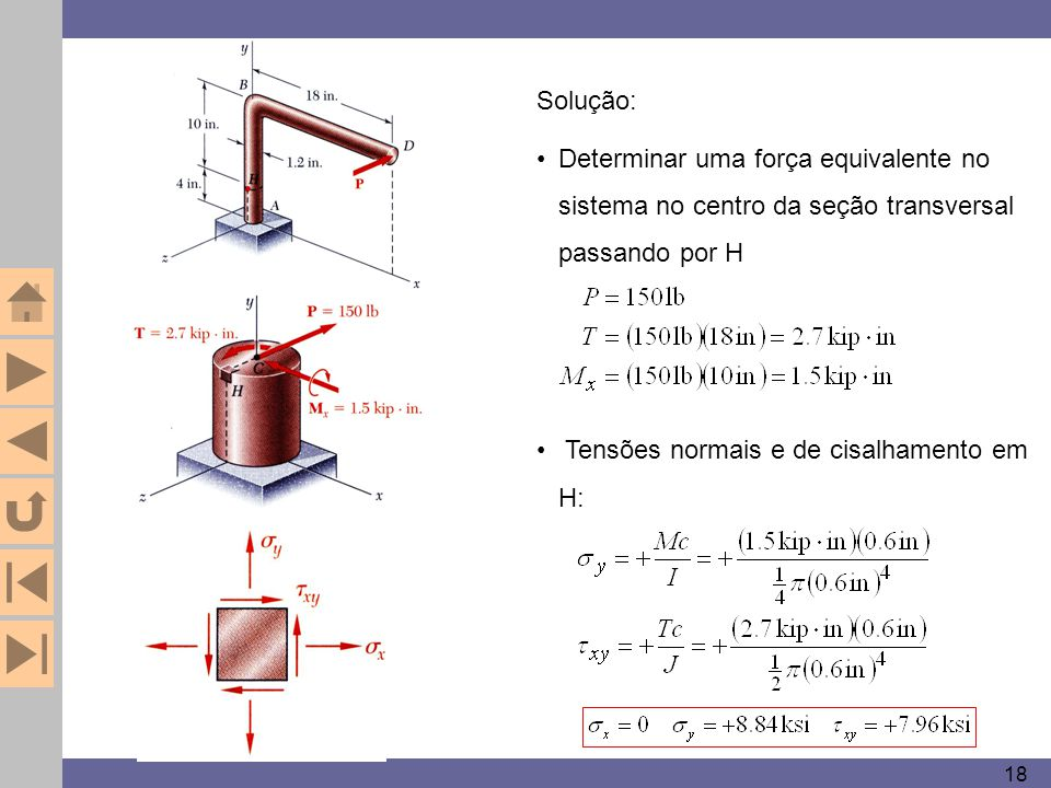 18 Solução: Determinar uma força equivalente no sistema no centro da seção transversal passando por H Tensões normais e de cisalhamento em H:
