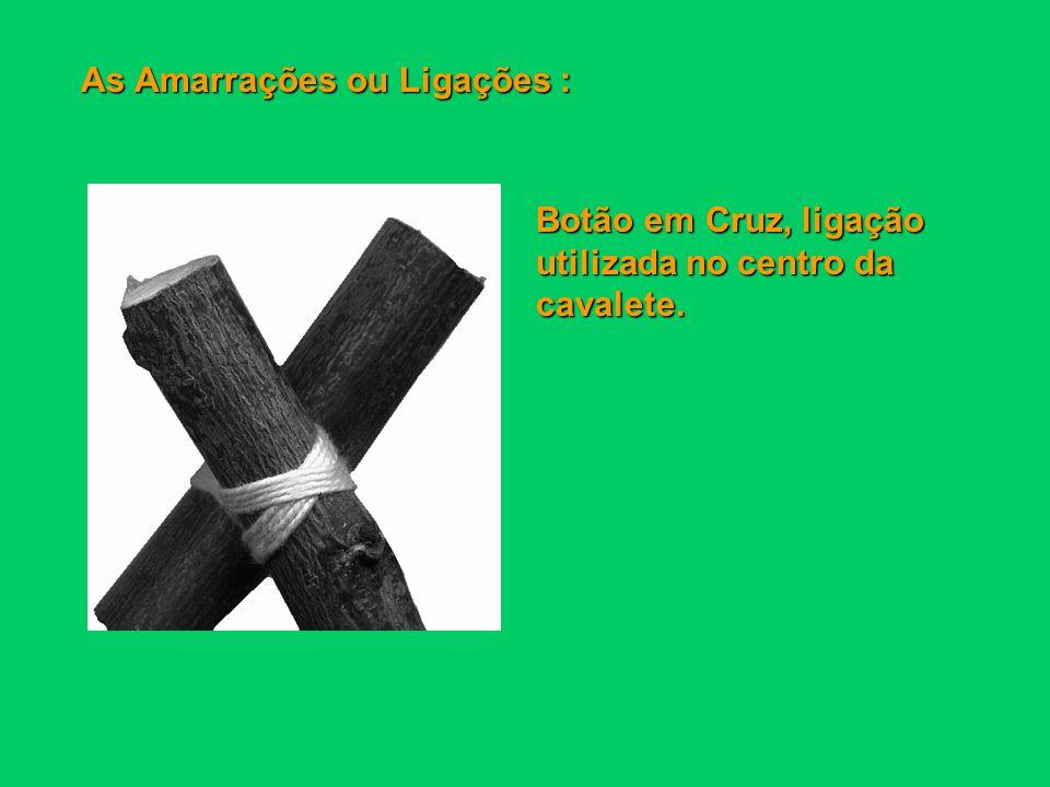 As Amarrações ou Ligações : Peito de Morte, ligação usada para aumentar o comprimento de duas varas.