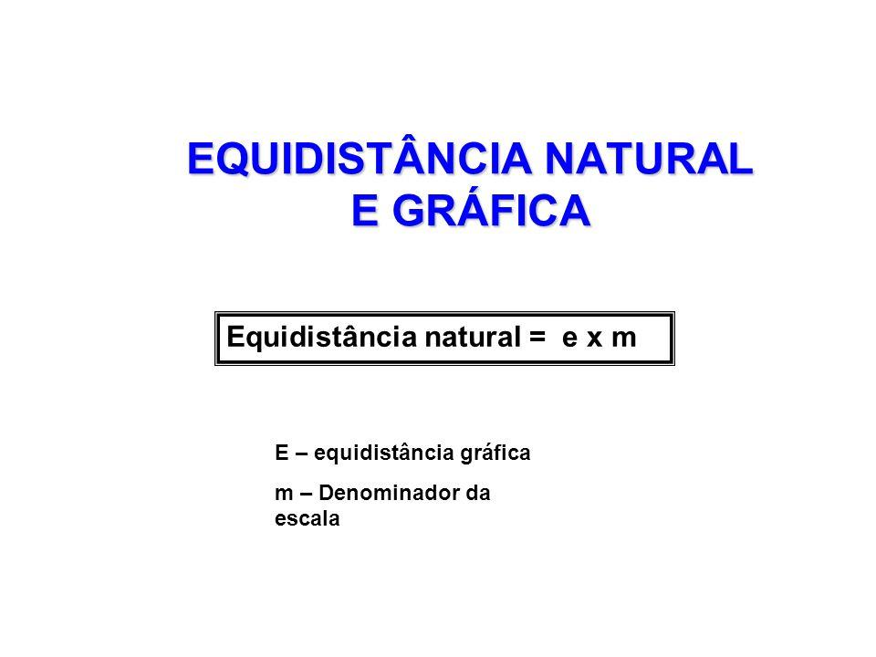 EQUIDISTÂNCIA NATURAL E GRÁFICA Equidistância natural = e x m E – equidistância gráfica m – Denominador da escala