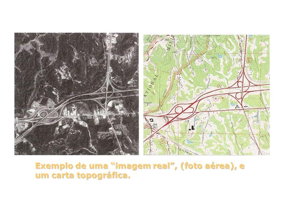 """Exemplo de uma """"imagem real"""", (foto aérea), e um carta topográfica."""