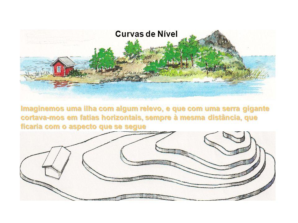 Curvas de Nível Imaginemos uma ilha com algum relevo, e que com uma serra gigante cortava-mos em fatias horizontais, sempre à mesma distância, que fic